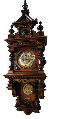 BEAUTIFUL Large FREESWINGER BALCONY ANTIQUE WALL CLOCK F.M.S circa 1880