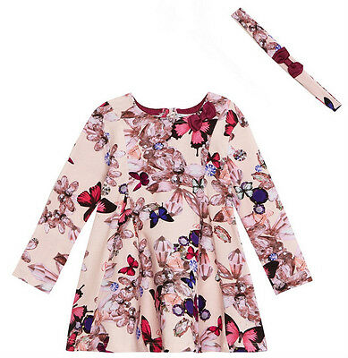 Designer Baby Girls Ted Baker Butterfly Diamond Floral Party Dress 3-6 Months
