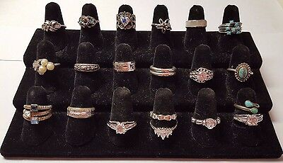 Nice Lot Of 20 Vintage Estate Costume Cocktail Jewelry Silver Tone Rings