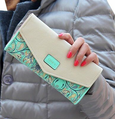 iToolai Vintage Women PU Leather Wallet Clutch Card Holder Long Purse,Green