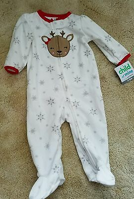 Child of Mine made by Carter's Reindeer Snowflake Footed Sleeper- 3/6 Months