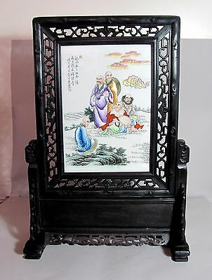 Antique Chinese  Famille Rose Porcelain Table Screen Plaque