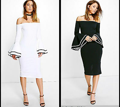 New Women Ladies Off Shoulder Flare Sleeves Bardot Bodycon Pencil Party Dress UK