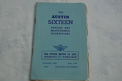 The  Austin Sixteen Running and Maintenance Instructions 1946