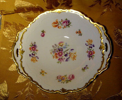 REICHENBACH HANDLED SERVING DISH FLORAL with HEAVY GOLD TRIM MADE IN GDR