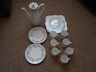 11-pce Royal Tuscan bone china coffee set with coffee pot - elegant Fashion Rose