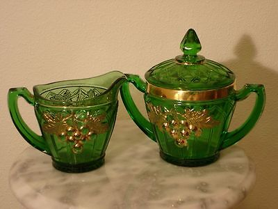 EAPG Northwood Grape & Gothic Arches Emerald Green Gilded Creamer & Sugar