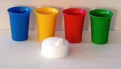 Tupperware Bell Tumblers with Sipper Seals in Primary Colors