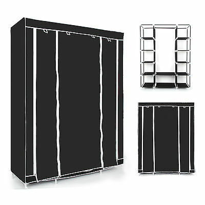 Black Triple Multiple Canvas Wardrobe With Hanging Rail