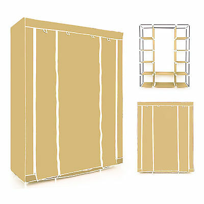 Beige Triple Multiple Canvas Wardrobe With Hanging Rail