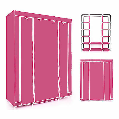Pink Triple Multiple Canvas Wardrobe With Hanging Rail