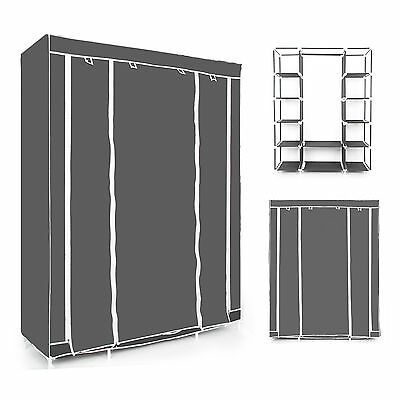 Black Multiple Canvas Wardrobe With Hanging Rail