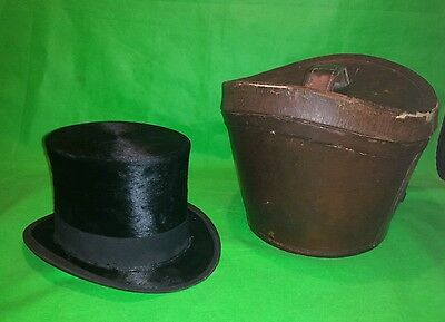 Vintage Leather Top Hat Box with Christys Top Hat size 7
