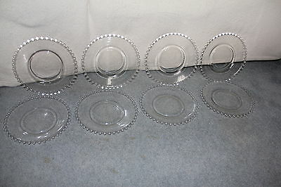 """8 Imperial Candlewick 8 1/4"""" Glass Beaded Salad/ Dessert Plates"""
