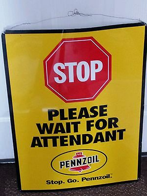 """Pennzoil""""wait For Attendant """"stop"""" Sign;23 1/2"""" X 17 1/2""""; Tin Sign"""