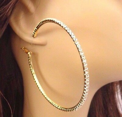 Large Crystal Hoop Earrings Rhinestone Pave 4 Inch Gold Tone