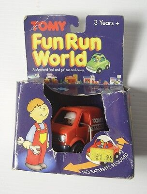 Vintage 1990's Tomy Fun Run Pull Back & Go Toy Car & Driver Express Delivery Van