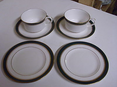 Lot Of 2 Royal Worcester Howard Green Tea Cups + Saucers + Dessert Plates