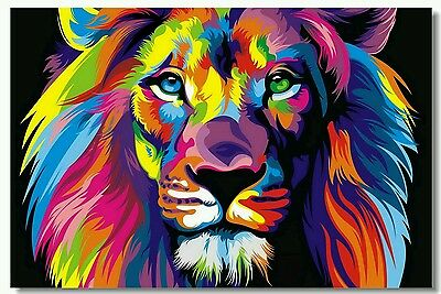 "Psychedelic Trippy Colorful Surreal Art Lion New Silk Poster 13×20 24×36"" 48×32"""
