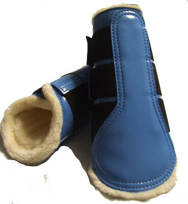 Patent Blue Horse Work Boots with Fleece Lining -  Extra Small