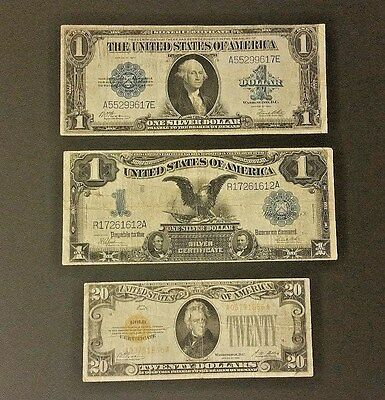 3 Piece Currency Lot - Black Eagle - Gold Certificate - Horse Blanket