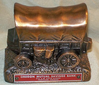 Vintage Cast Copper Metal Coin Bank Oregon Mutual Savings Bank w Key Red Label