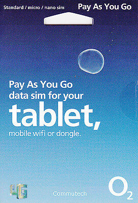 O2 02 Pay as You Go Data Sim Card 4G for Tablet, Mifi, Car Wifi and Dongles