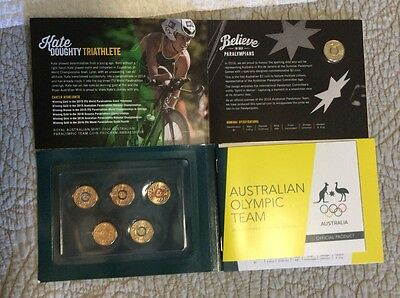 2016 australian olympic coloured coin set and paralympic coin