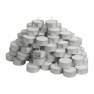 100 Quality White Unscented Tealights Candles 4Hour Burning Time Tea Light