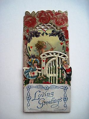 Vintage Antique Victorian Pull Down  Valentine w/ Die Cut Curly Haired Cupid  *