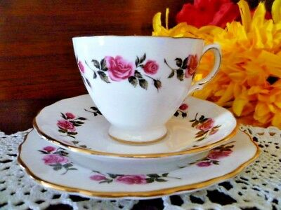 pretty rose royal vale tea set size cup , saucer & plate