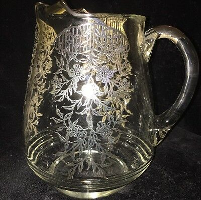 Vintage Sterling Silver Overlay Pitcher with Ice Lip