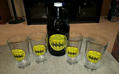 Set Of 4 Four Horseman Brewing Company South Bend, In Beer Glasses And Growler