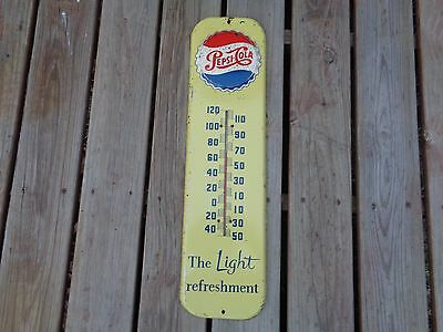 Vintage Original Pepsi Thermometer Sign Cap Button Signs