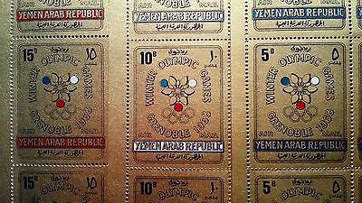 YEMEN 1968 Olympics Set in complete sheets of 36 MNH Gold Stamps