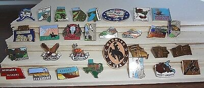 Lot  of 30 USA States & Parks Lapel / Vest Pins with pin clasp Free Shipping