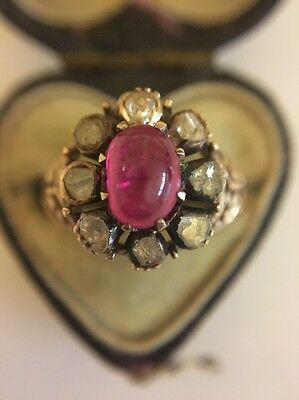 Victorian Antique Yellow Gold Large Rose Cut Diamond Cabochon Ruby Cluster Ring