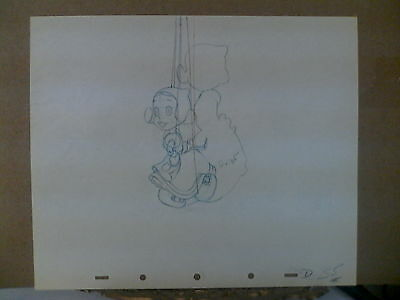 Vintage Disney's Pinnochio Production Dutch Girl Puppet Cel Drawing