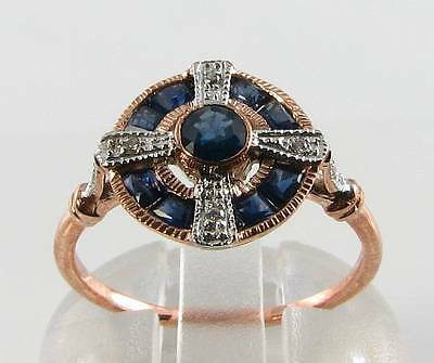 Lovely 9Ct Rose Gold Blue Sapphire Diamond Art Deco Ins Ring Free Resize