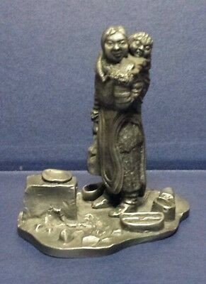 Franklin Mint pewter statue . the Eskimo Woman. Caldwell . 1976