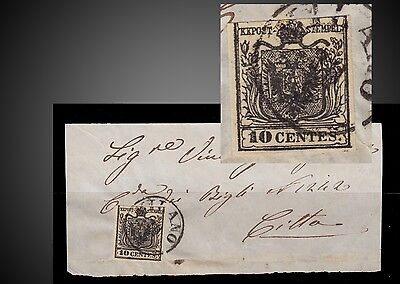 1850  Italy Lombardy Venetia Coat Of Arms 10 C Black Milano Fragment Scott. 3