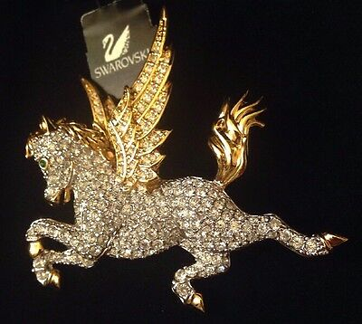 SWAROVSKI Swan Signed Flying Unicorn Horse Crystal Brooch/Pin New