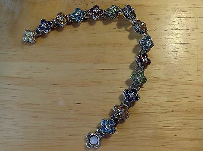 "Barbara Bixby Sterling Silver w/18K yellow gold multi-gemstone Bracelet 6 3/4"" L"