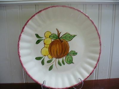 "Blue Ridge Southern Pottery Country Fair Fig & Gooseberries 8.5"" Plate Red Rim"
