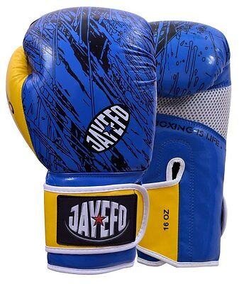 Jayefo Leather boxing gloves Gel MMA Muay thai Kick Boxing sparring gloves blue