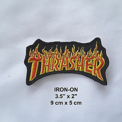 """Thrasher"" Flame Biker Iron-on Emblem Skate Badge Punk Patch Motorcycle Applique"