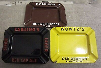 Vintage Lot 3 Beer Advertising Porcelain Ashtray's Kuntz, Dominion & Red Cap Ale