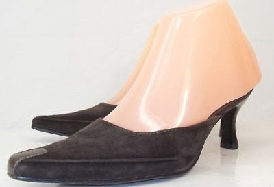 f189ca90e3e Nordstrom Womens US 5.5 Brown Suede Slip-on Mules Kitten Heels Casual Shoes  901