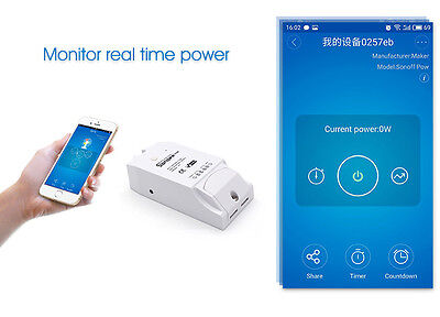 16A Sonoff Pow Itead Wifi Smart Home switch Power Statistics Current Test socket
