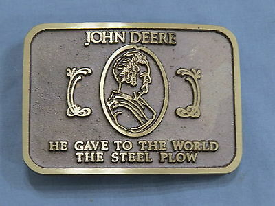 John Deere He Gave the World the Steel Plow BRASS Belt Buckle NEAT!